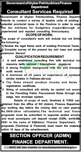 govt of khyber pakhtunkhwa consultant jobs in finance department