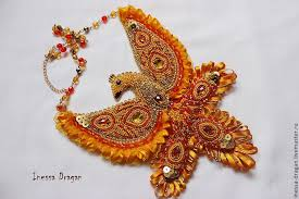 Купить Украшение Жар-птица - оранжевый, желтый, золотой ...
