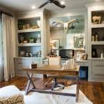 wall unit with desk in home office farmhouse with antique mirror backsplash animal hide rug animal hide rugs home office