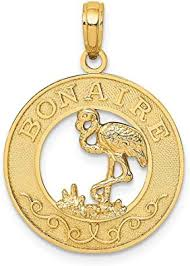 14k Yellow Gold Bonaire Circle Flamingo Pendant ... - Amazon.com