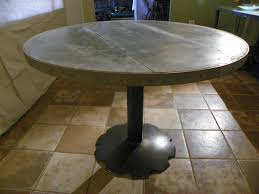 images zinc table top: round zinc top dining table agricultural element base  wide x