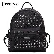 <b>JIEROTYX</b> Fashion Female Women Backpacks Rivet <b>Black</b> Soft ...