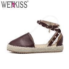 <b>WETKISS</b> 2018 New Summer Espadrilles <b>Ankle</b> Strap Sandals ...