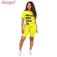 <b>Adogirl Letter Print</b> Summer Casual Two Piece Set Fashion Street ...