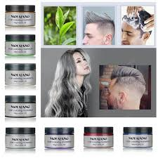 unisex color hair wax dye one time molding paste seven colors available blue burgundy grandma gray green
