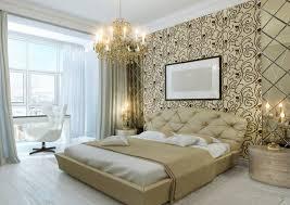 royal bedroom design luxury light brown bed with upholstery headbar artistic wallpaper luxury crystal chandelier artistic bedroom lighting ideas