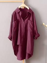 <b>plus size s</b>-<b>5xl</b> solid color irregular hem loose blouse shirt at ...