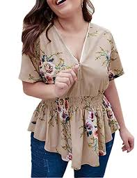 Sexyshine Women's Plus Size Floral <b>Print V Neck</b> Short Sleeve ...