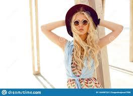 Sensual Blonde Girl With <b>Round Sunglasses</b>, Cute Dress, <b>Wave</b> ...