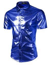 JOGAL Men's Trend Nightclub Styles Metallic Silver ... - Amazon.com