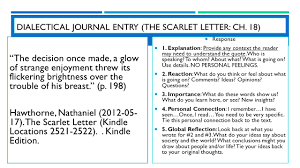 the scarlet letter by nathaniel hawthorne english iii unit ppt dialectical journal entry the scarlet letter ch