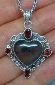 <b>Genuine Bloodstone</b> & Garnet Heart Necklace - Sterling <b>Silver</b> ...