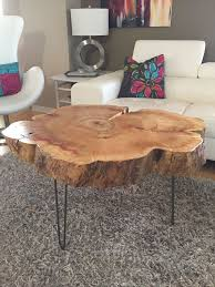 tree trunk table with metal legs wood coffee table with hairpin legs coffee awesome tree trunk table 1