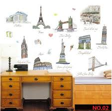 picture frames bedroom stickers home decor photo wall stickers pvc world famous architecture tour scen