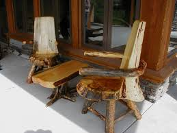 log chairs with swivel and arms and root ball table chair wooden furniture beds
