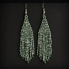 Блестящие серьги из бисера (зеленые с <b>серебристым</b>) | <b>Seed</b> ...