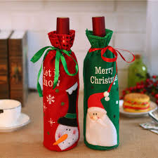 <b>Cartoon</b> Santa Claus <b>Snowman Pattern</b> Wine Bottle Covers For ...