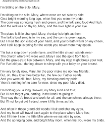 old time song lyrics for i m sitting on the stile mary music lyrics pdf file for printing no ads music lyrics in rtf file for editing printing word and other editing software
