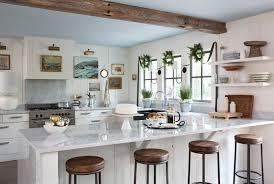 open kitchen design farmhouse:  modern open kitchen room and kitchen design with granite countertops also all white colors