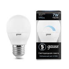 <b>Лампа Gauss</b> LED Globe-dim E27 7W 4100К <b>диммируемая</b> - <b>Gauss</b> ...