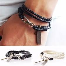 <b>Vintage punk</b> irregular PU <b>leather bracelet</b> for men | Shopee ...