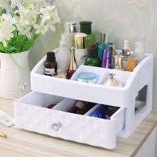<b>Desktop dresser</b> transparent skin care products lipstick first jewelry ...