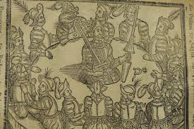 new acquisitions spotlight malory s history of king arthur  detail of the woodcut of king arthur literally in his roundtable used in the 1634