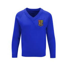 Girls <b>Royal Blue V'Neck</b> Knitted Jumper embroidered with the Hetton ...