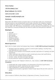Professional Sap Crm Functional Consultant Templates to Showcase     My Perfect Resume