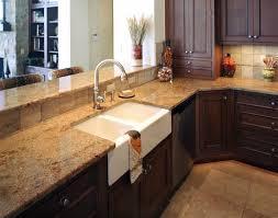 kitchen island granite top sun: stylish double farmhouse sink plus black wooden cabinets design feat great granite kitchen countertop option