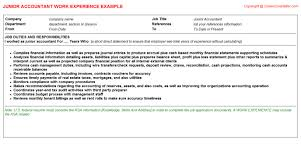 Junior Accountant Resume Work Experience Sample Career Cover Letter