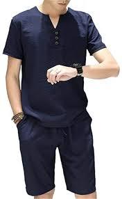 Gusha <b>Men's Fashion Short</b>-<b>Sleeved</b> Shirt Shorts Two-Piece ...