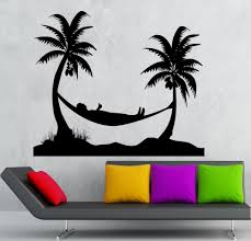 palm tree wall stickers: hammock wall stickers enjoy beach holidays coconut tree diy living room wall decal murals vinyl removable