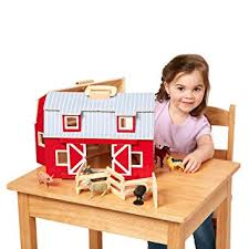 Melissa & Doug Wooden Fold & Go Barn, Animal ... - Amazon.com