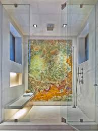 contemporary shower expansive contemporary master bathroom idea in denver with an alcove shower multicolored tile stone alcove lighting ideas