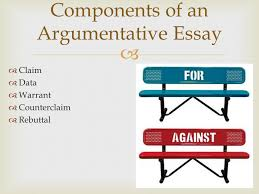 the  s of argument writing  �  journal entry �  �  claim    claim �  data �  warrant �  counterclaim �  rebuttal components of an argumentative essay