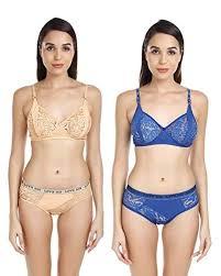 KV <b>Soft Comfort</b> Net <b>Women</b> and Girl <b>Bra</b> and Panty Set (Gold & Blue)