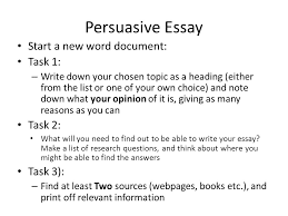 national  persuasive essay  folio piece consists of the following    persuasive essay start a new word document  task   – write down your chosen