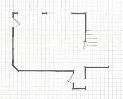 living room arrangements experimenting: here is the basic floor plan with columns in place