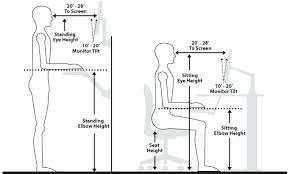 office desk height. desk office ergonomics standing height setup
