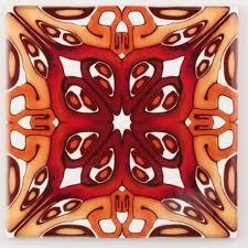 Art deco <b>handmade</b> tiles <b>15cm</b> / 6 inch rich red <b>gold</b> burgundy | Etsy