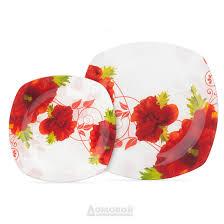 <b>Тарелка HOME CAFE Home</b> Cafe Красные цветы, 24,5см, стекло ...