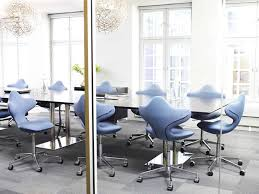 office meeting room interior design with blue active chair by varier blue office room design