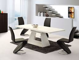 white gloss dining table black