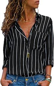 AitosuLa Women's <b>Casual V Neck</b> Stripe Chiffon Blouse Loose ...