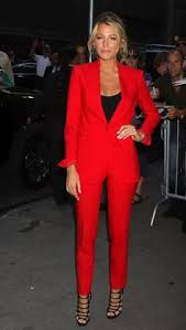 Image result for black ladies pants with red jacket