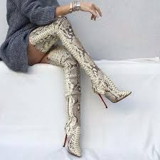 <b>Emma King</b> Snake Pattern Thigh High Heels Women <b>Fashion Pointy</b> ...