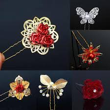Hot 1PC Chinese bridal wedding girls hair clip gold color <b>butterfly</b> ...