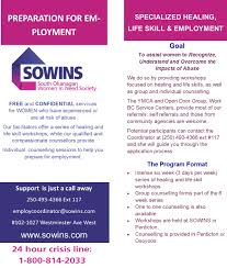healing life skills preparation for employment sowins contact priscilla at 250 493 4366 ext 117 or employcoordinator sowins com for further information