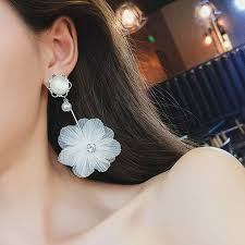Personality exaggerated <b>super fairy</b> pearl white lace <b>flower earrings</b> ...